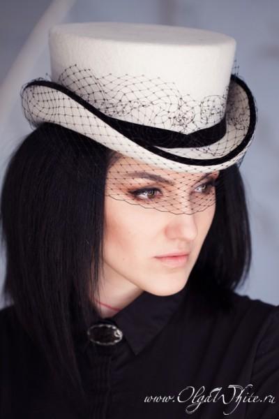 Шляпка-амазонка для невесты. Купить белый свадебный укороченный цилиндр с вуалью