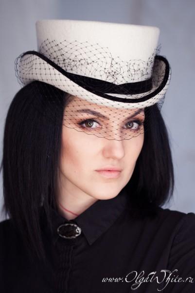 Белый свадебный цилиндр с вуалью - шляпка-амазонка для невесты. Купить укороченный цилиндр в интернет-магазине шляп