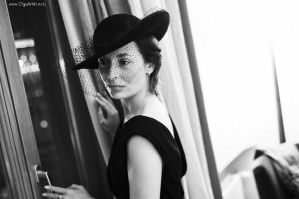 Черная фетровая широкополая шляпа с вуалью в стиле ретро, винтаж. Купить в интернет-магазине