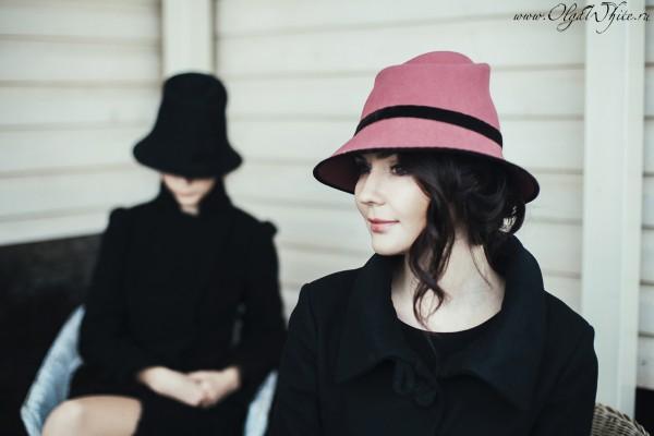 Черная и пепельно-розовая фетровые шляпы с опущенными полями - купить