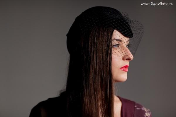 Фетровая черная шляпка-пилотка с вуалью - купить в интернет-магазине