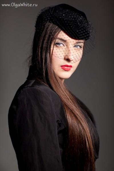 Черная женская шляпка-пилотка с вуалью купить в интернет-магазине