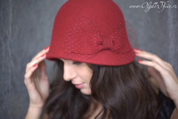 красная фетровая шляпка-клош с бантом. купить можно в интернет-магазине спб