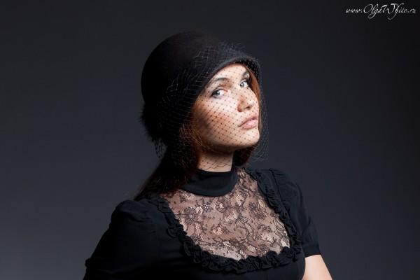 Фетровая черная шляпка-клош с вуалью. Купить в интернет-магазине шляп в СПб