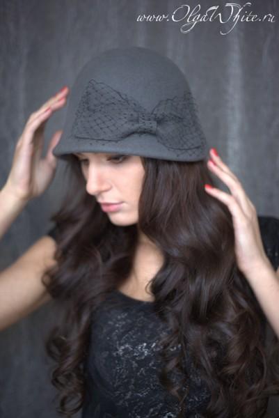 Серая фетровая шляпка-клош с бантом. Купить можно в интернет-магазине шляп