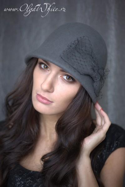 Фетровая серая шляпка-клош. Купить можно в интернет-магазине шляп СПб