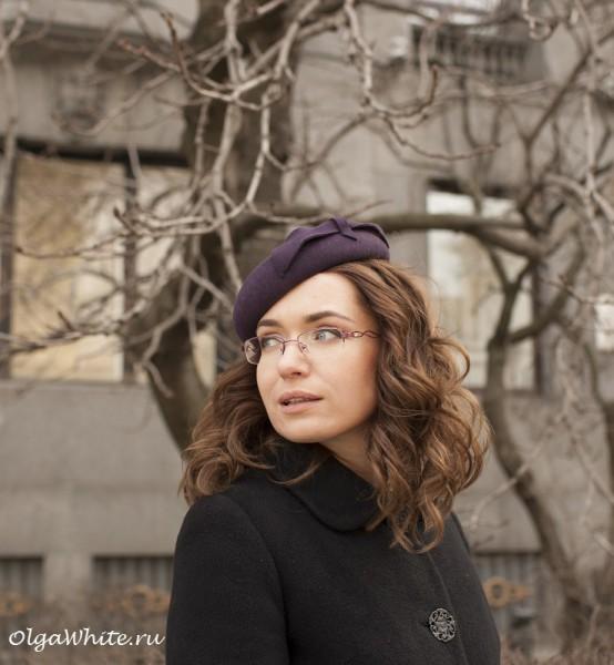 Фетровая фиолетовая шляпка - круглая беретка купить