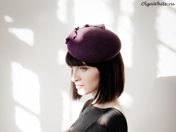 </p><p>Фиолетовая шляпка фетровая маленькая женственная купить
