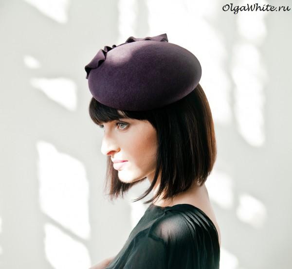 </p> <p>Фиолетовая шляпка фетровая маленькая женственная купить