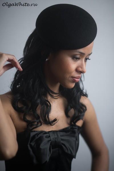 Модная ретро фетровая черная шляпка беретка. Купить шляпу берет в Спб