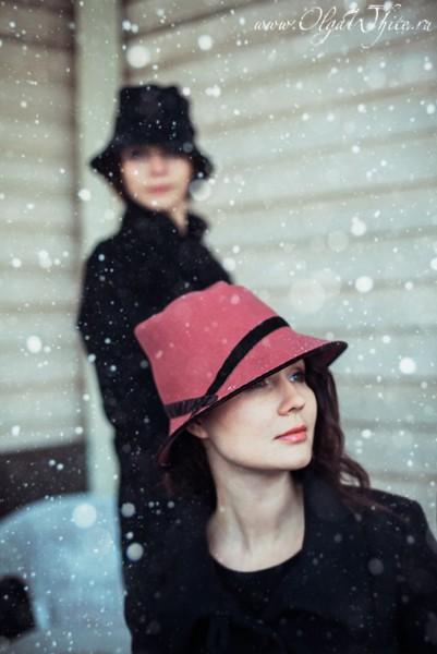 Пепельно-розовая фетровая шляпа с опущенными полями-купить