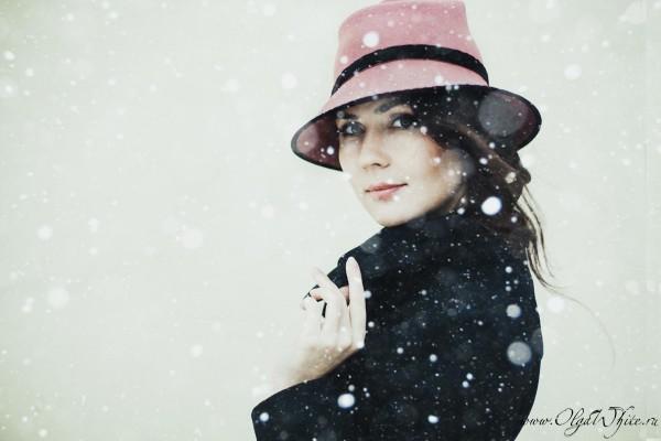 Розовая фетровая шляпа с опущенными полями-купить