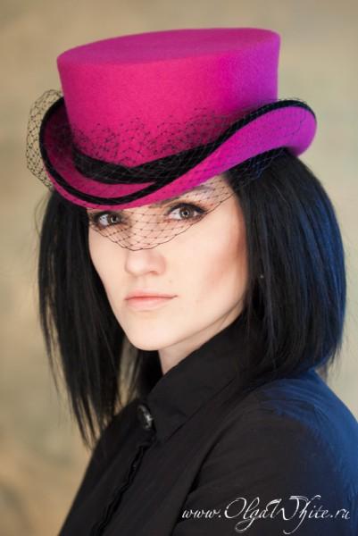 Красная шляпка-амазонка -цилиндр с вуалью для верховой езды-купить