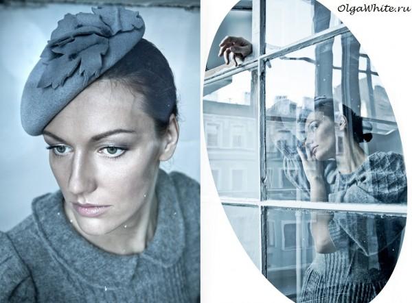 Серая маленькая женская шляпка фетр