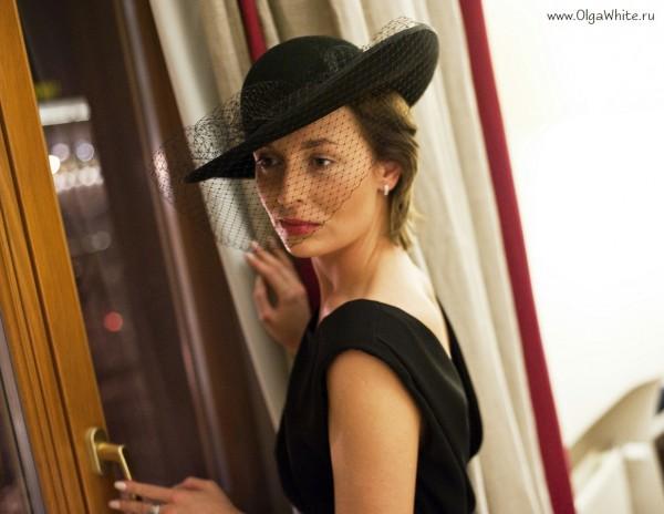 Широкополая фетровая женственная шляпа с вуалью Астория