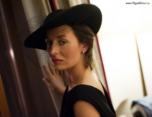 Широкополая фетровая шляпа с вуалью - женственная шляпка Астория