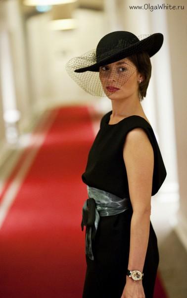 Широкополая фетровая черная шляпка с вуалью - женственная шляпа Астория