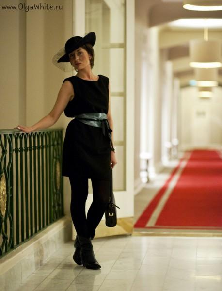 Широкополая фетровая шляпа с вуалью - черная женственная шляпка Астория