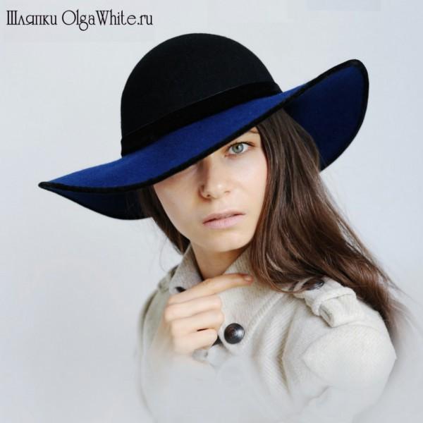 Широкополая шляпа женская синяя фетровая купить