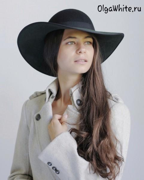Широкополая шляпа женская зеленая фетровая купить