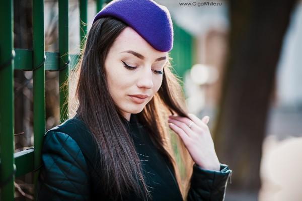 Шляпка пилотка фетровая фетр фиолетовая сиреневая купить заказать в интернет магазине