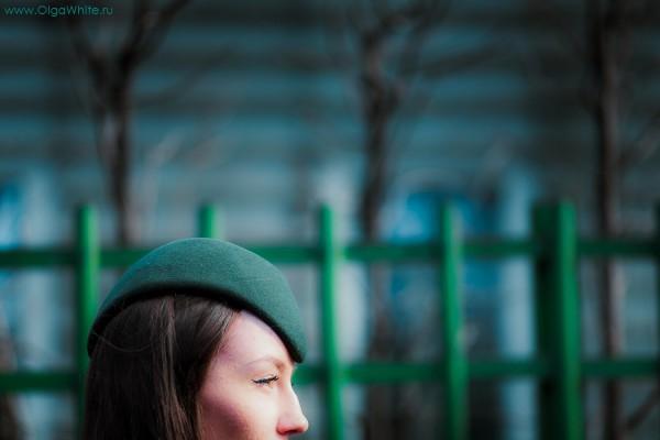 Шляпка пилотка фетровая фетр зеленая купить заказать в интернет магазине
