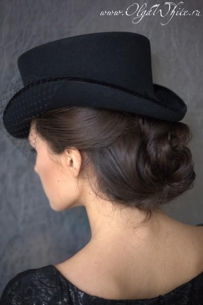 Шляпка для верховой езды с вуалью. Укороченный цилиндр - шляпка-амазонка. Купить в интернет-магазине.