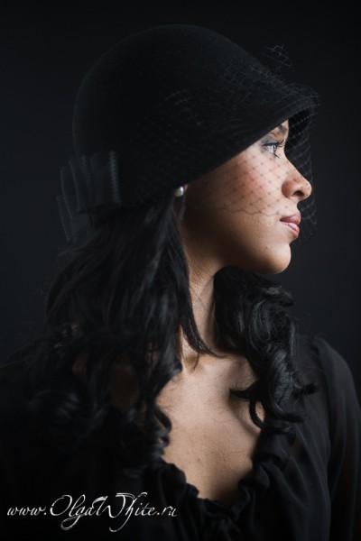 Черная шляпка-клош с вуалью в стиле двадцатых - в стиле Гетсби. Купить в интернет-магазине шляп