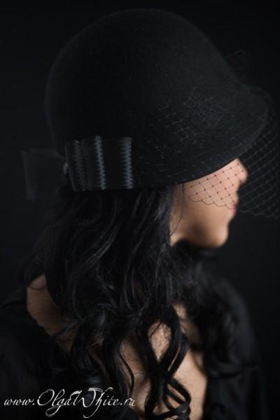 Черная шляпка-клош с вуалью и бантом. Купить в интернет-магазине шляп