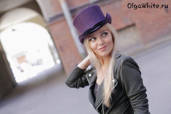 Цилиндр купить головной убор женский Спб Фиолетовый цилиндр