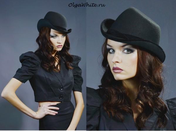 Фетровая черная шляпка Анна Каренина купить