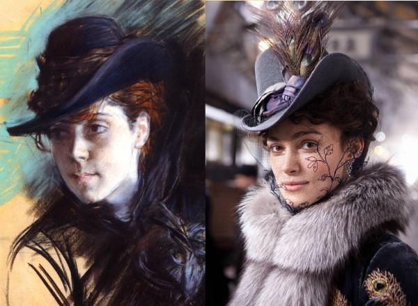 Фетровая шляпка Анна Каренина и картина Девушка в черной шляпе Джованни Болдини