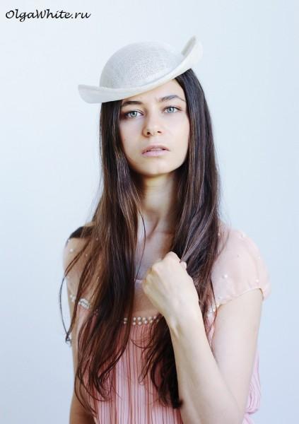 Котелок летняя шляпа купить Женская белая шляпка свадебная котелок