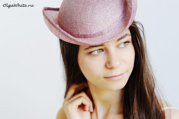 Котелок летняя шляпа купить Женская розовая шляпка свадебная
