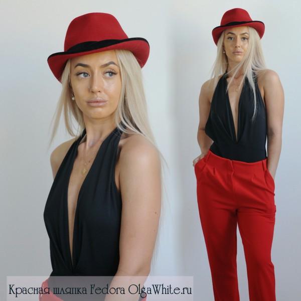 Красная шляпка федора женская купить