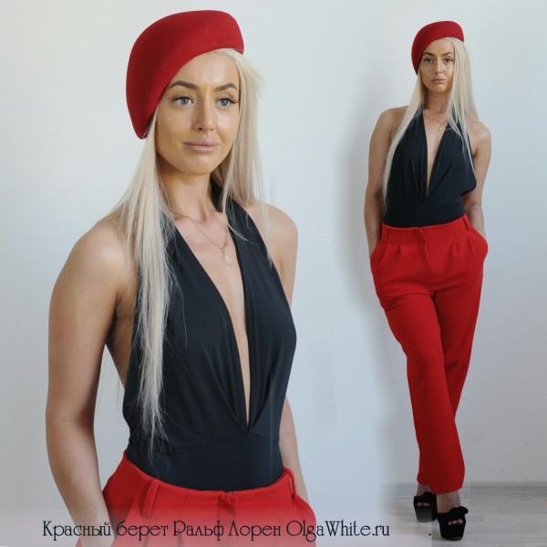 Красный женский фетровый берет в стиле Ральф Лорен купить