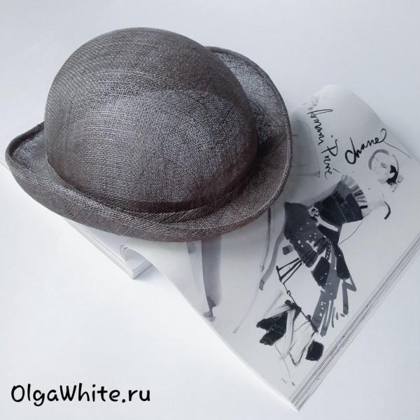Летняя шляпка женская серая соломенная купить