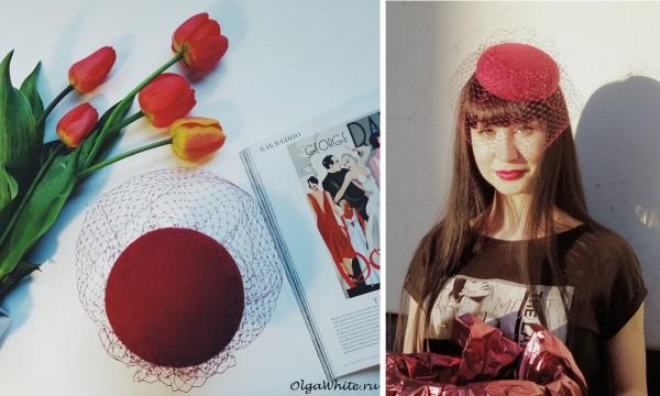 Красная шляпка-таблетка с вуалью