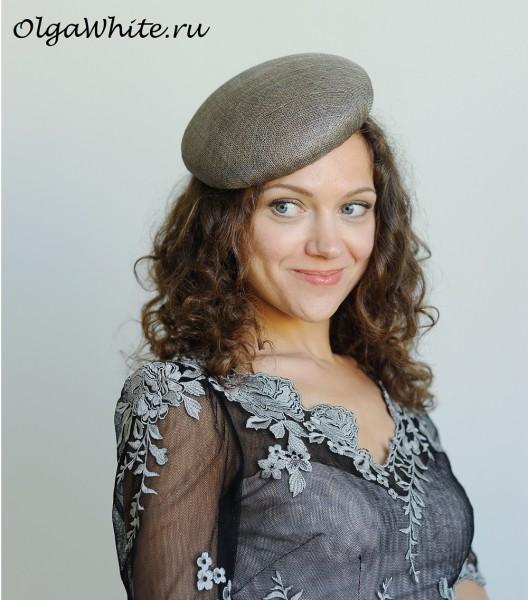 Шляпка серая женская летняя купить берет без полей