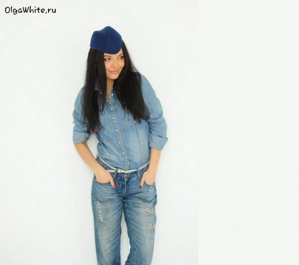Синяя фетровая шляпка пилотка купить женская шляпа