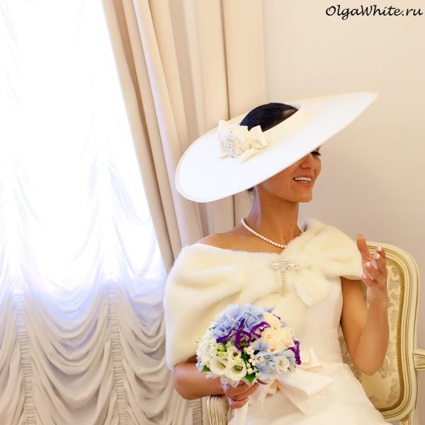 Свадебная широкополая шляпа с широкими прямыми полями шелковая. Купить в интернет-магазине шляп