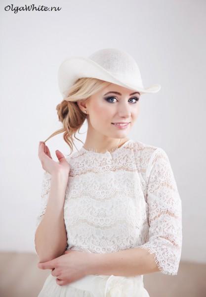 Свадебная шляпка летняя легкая с полями. Купить в интернет-магазине