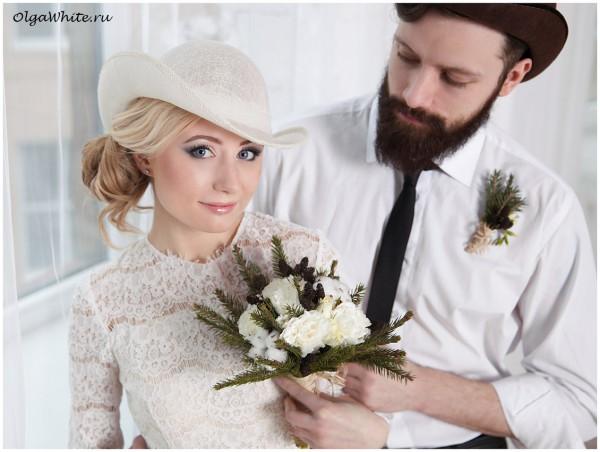 Свадебная шляпка летняя легкая с полями. Купить в интернет-магазине для невесты