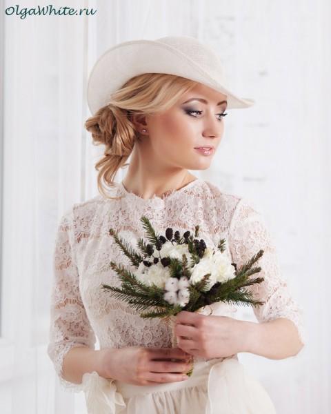 Свадебная шляпка соломенная белая для невесты купить