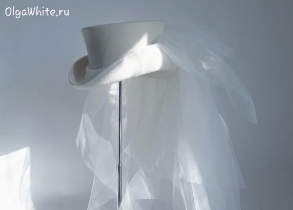 Свадебный цилиндр с фатой вуалью купить Спб