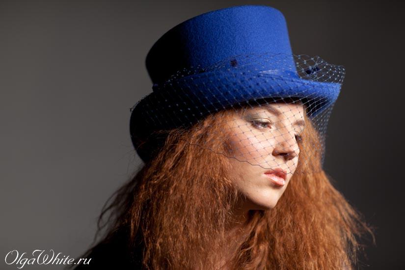 Шляпка цилиндр с вуалью